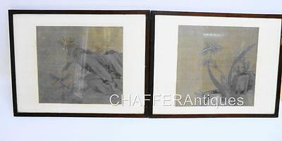 Two Early to Mid 1800s JAPANESE PAINTINGS of Studies of Flora & Insects