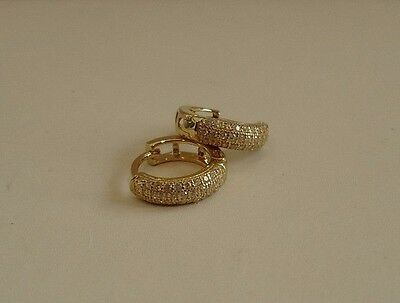 14K Yellow Gold Over 925 Sterling Silver Huggie Earrings W/ .75 Ct Lab Diamond