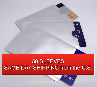 50 PACK HIGH LEVEL RFID Blocking Credit Card Sleeve Theft Protector Chip Shield