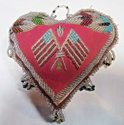 """Antique Iroquois Bead Work Pin Cushion Crossed Flags Native American 8"""" X 7"""""""