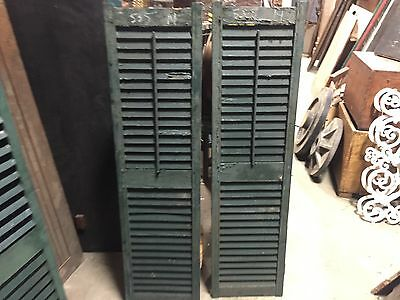 """PaiR late 19th century Victorian wooden house window shutters GREEN 53.5"""" X 14"""""""