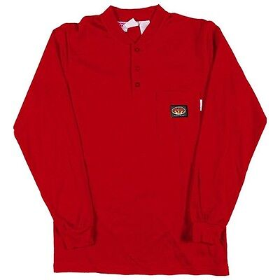 Rasco FR  Red Long Sleeve FLAME RESISTANT   Henley T-Shirt  NWT