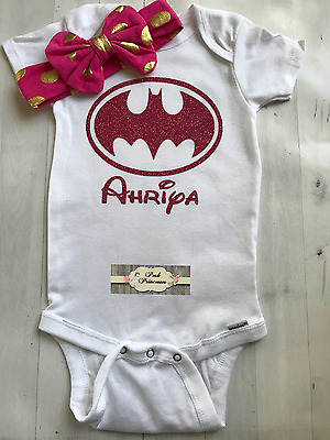 Batman Batgirl Baby Personalized Glitter Gerber Onesie ONLY, Any Name/Size