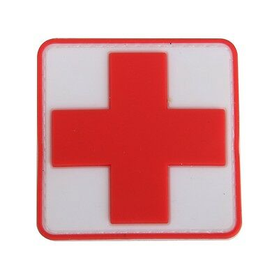 Outdoor First Aid PVC Red Cross Hook  Badge Patch O8Y6