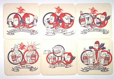 "Vintage Budweiser BUD MAN Set of 6 BEER COASTERS from 1970""s"