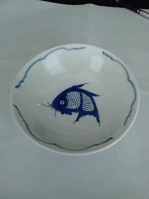 """Vintage Porcelain China Bowl With Blue Fish Bowl. Made In China. 7 3/4"""""""