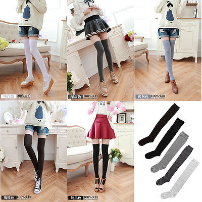2 Prs Fashion Ladies Women Thigh High OVER the KNEE Socks Long Cotton Stockings