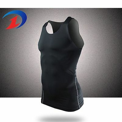 Mens DRY Compression Sleeve-less Sports T-Shirts Athletic GYM Under Base Layers