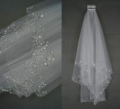 2T Elbow Beaded Pearl Sequins Edge Bridal Wedding Veil With Comb White/Ivory