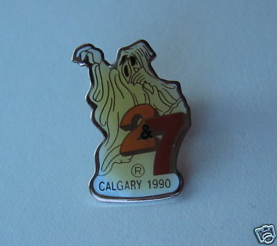 Channel 2 & 7 TV Television  Calgary Halloween Ghost Lapel Pin 1990 Vintage Pin