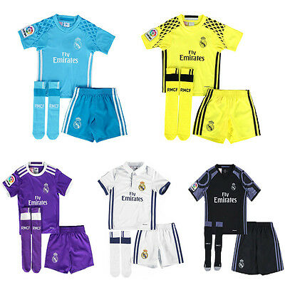 2017 Youth Jersey Football Soccer Short Sleeve Suit 3-14 Years Kids Kit+socks