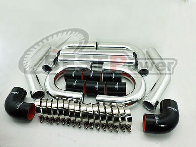 """2"""" INCH 51mm WALL THICKNESS 2mm UNIVERSAL ALUMINUM INTERCOOLER PIPE PIPING BLACK"""