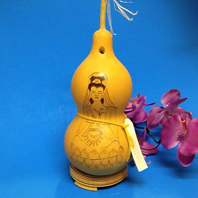 Feng Shui - Natural Wu Luo Curing Gourd 22cmTall with Poker Work  &  Gourd Stand