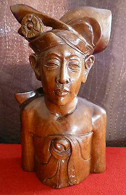 Vintage BALI Hand Carved Solid Wooden Bust Male - 10¾ Inches