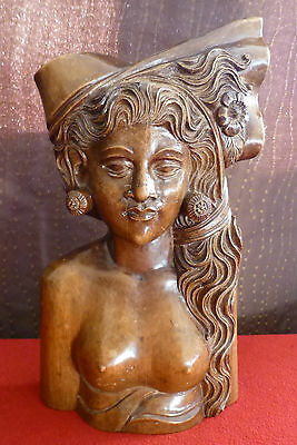 Vintage BALI Hand Carved Solid Wooden Bust Semi Nude Woman  - 10½ Inches