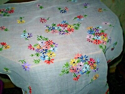 Vintage Cambric  Hand-Embroidered Tablecloth