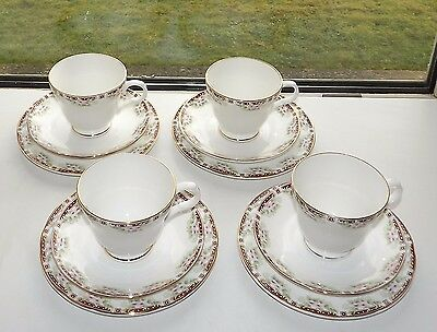 Vintage Crown Trent Fine Bone China 4 x Trios Cups Saucers Plates Pink Floral