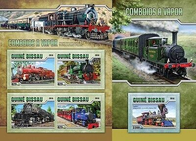 Z08 IMPERFORATED GB16508ab GUINEA-BISSAU 2016 Steam trains MNH Set