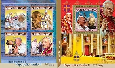 Z08 IMPERFORATED GB16406ab GUINEA-BISSAU 2016 Tribute to John Paul II MNH Set
