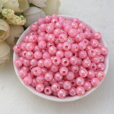 Wholesale 500pcs 4mm Acrylic Pearl Round Spacer Loose Beads Pink colour