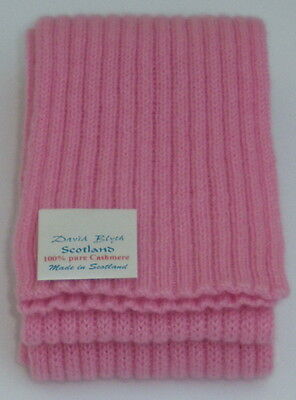 Kiddies Pure Cashmere Knitted Scarf - Fine Rib Design - Figurine Pink