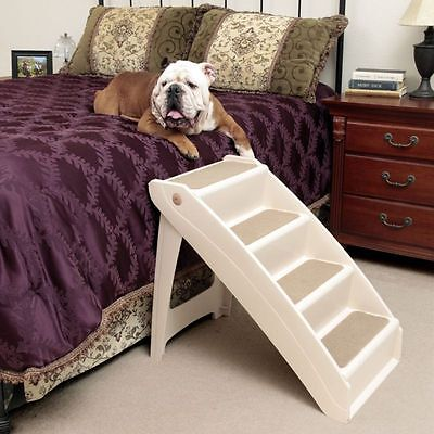 X-Large Pet Dog Stairs Tall High Bed Car Ladder Ramp Steps Portable White New