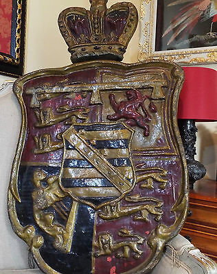 Antique Papier Mache Wood Heraldic Coat of Arms Royal Crown Armorial