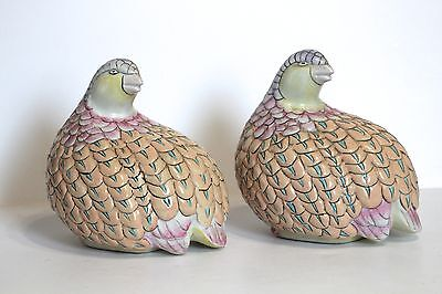 Decorative birds porcelain pastel set of 2