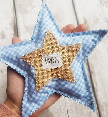 newborn baby gift personalised hanging star nursery decoration boy girl