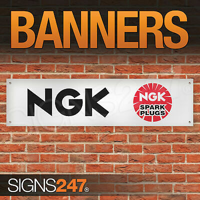 NGK Spark Plugs Logo garage workshop PVC banner sign (ZA007)
