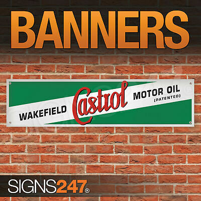 Retro Wakefield Castrol Motor Oil garage workshop PVC banner sign (ZA048)