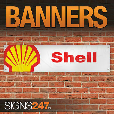 Shell Motor Oil Fuel Logo garage workshop PVC banner sign (ZA085)