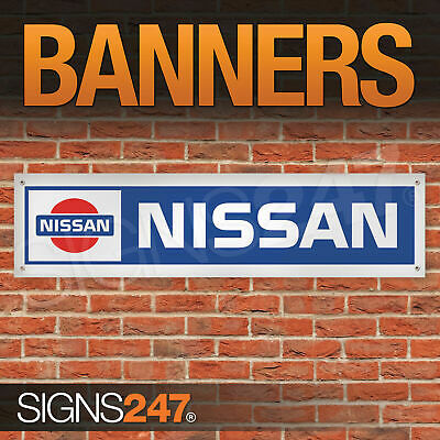 Retro Nissan logo garage workshop PVC banner sign (ZA035)