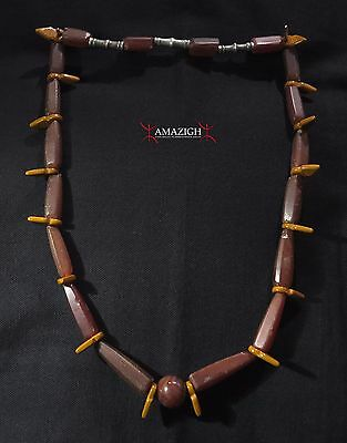 Tuareg Necklace – Old Carnelian Beads and KHOURB Glass Rings – Niger