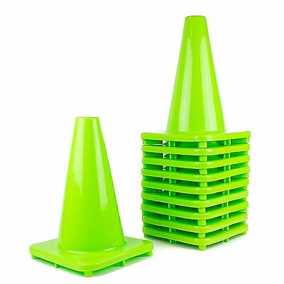 "RK PVC Traffic Safety Cone, 12"" Inch Construction Safety Cones -Lime"