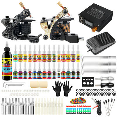 Tätowierung Tattoo Kit Komplett Tattoo Set 28 Inks 2Tattoo maschine Netzgerät