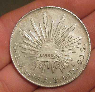 Mexico - 1896 MoAB Large Silver 8 Reales - Nice!