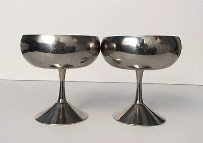 ITALIAN Set of (2) Vintage EHP INOX 18/10 Shiny Champagne Sherbet Cup Goblet