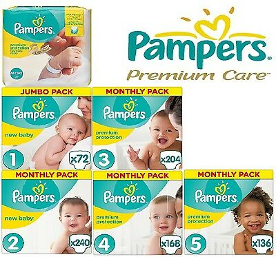 Pampers New Baby Nappies Monthly Pack Size 0 1 2 3 4 5 Mega Box Premium Care