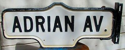Vintage Old Antique Double Sided Street Sign Metal Post Bracket ADRIAN AV.