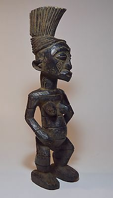 Gorgeous Vintage Mangbetu female sculpture with tall swept back coiffure, Africa