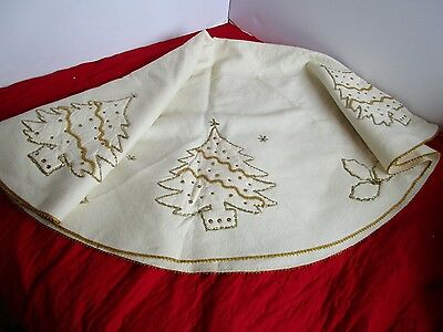 "Vintage Christmas Tree Skirt 57"" White Felt gold Sequins HAND STITCHED Tabletop"