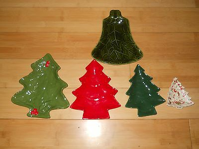 Vtg lot Retro Art Pottery Ceramic Small Christmas Tree Dish White Green Splatter