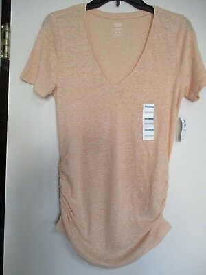 NWT Old Navy Coral Maternity Relaxed Linen Short Sleeve Top