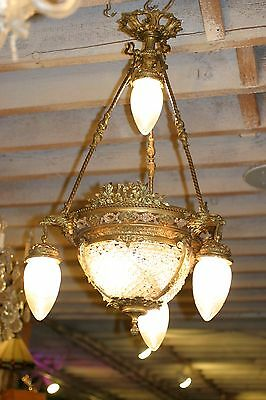 Antique  French Figural Gilded Bronze Crystal Chandelier, Eagle Heads ,stunning