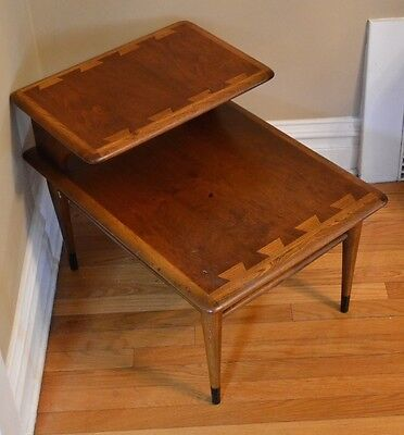 Lane End Table Mid Century 900 07 Teak Walnut 2 Tier Quality! DENVER P/U ONLY