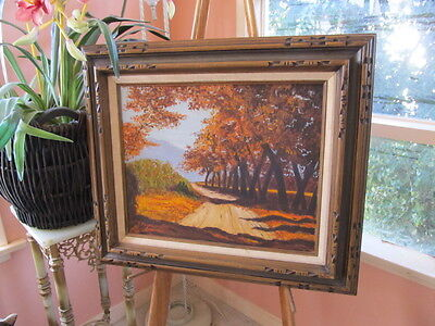 Vintage oil PAINTING J. FOYLE LANDSCAPE trees COUNTRY ROAD MYSTERY ARTIST FRAMED