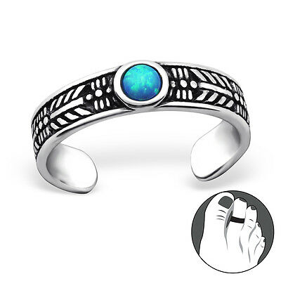 925 Sterling Silver Toe Ring Round Opal Adjustable Body Jewellery Oxidised Midi