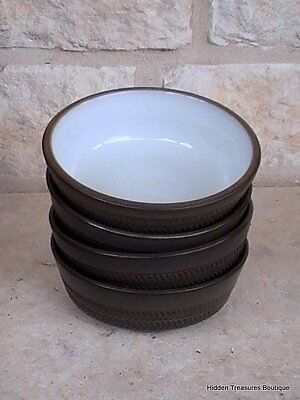 Denby-Langley Camelot Dark Green Older 4 Fruit/Dessert Bowls England