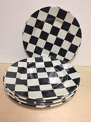 6 Royal Stafford CHEQUERS Black u0026 White Checkered Dinner Plates England : checkered dinner plates - pezcame.com